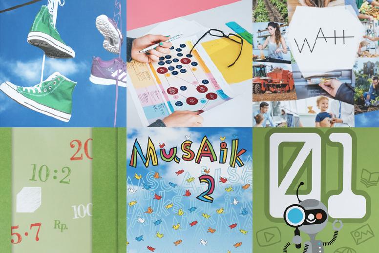 Ausschnitt aus Cover des Magazins ilz.ch. Collage mit Abbildungen von sechs Lehrmitteln